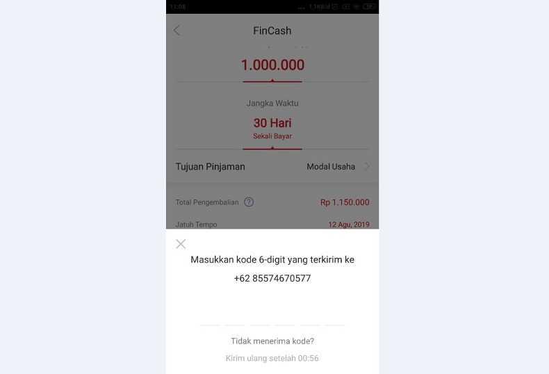 Verifikasi Kode Pinjaman tunai 6 Digit SMS