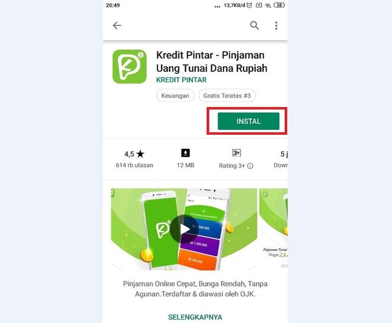 Install Aplikasi pinjaman uang tunai online 2020 Kredit Pintar versi terbaru