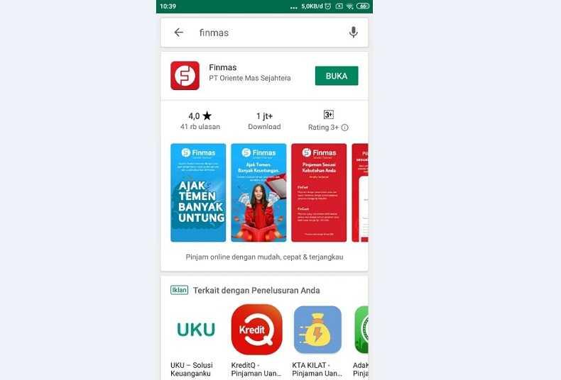Download dan Buka Aplikasi pinjaman pribadi non bank Finmas 2021