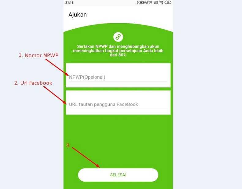 Isi nomor NPWP dan Url Facebook sebagai ketentuan pinjaman uang tunai online 2020