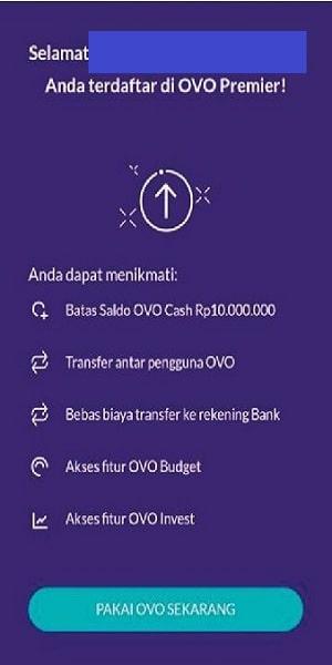 cara upgrade e wallet OVO selesai